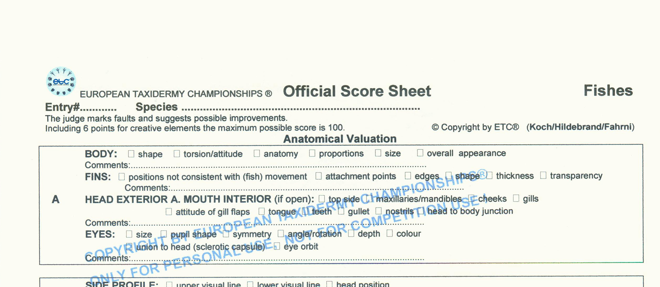 score sheets available european taxidermy championships